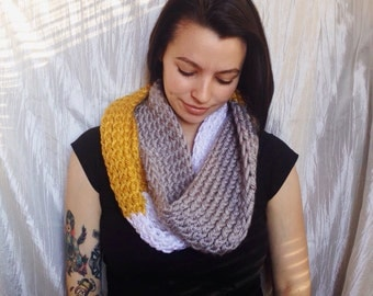 Color block hand knit infinity scarf Mustard yellow/white/grey