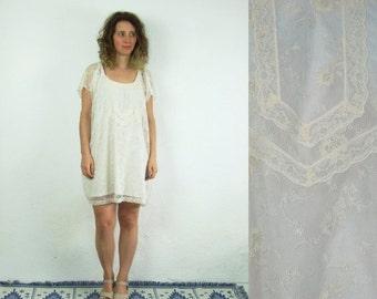 ON SALE 80's vintage women's white lace mini dress