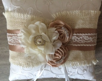 Champagne and Ivory Ring Bearer Pillow