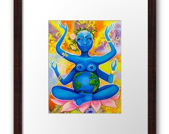 Gaia Mother Earth Matted and Framed Art Print