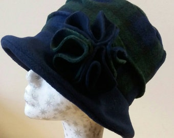 Cosy Navy Blue Tartan Fleece Hat with Fleece Lining