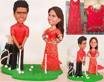 Personalised India Asian Golf Theme wedding topper (Free shipping)