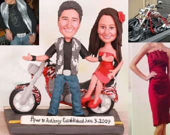 Bride Sitting Sideway on Motorcycle Wedding Cake Topper - Personalised wedding cake topper  (Free shipping)