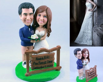 Camping Wedding Cake Topper - Personalised wedding topper (Free shipping)