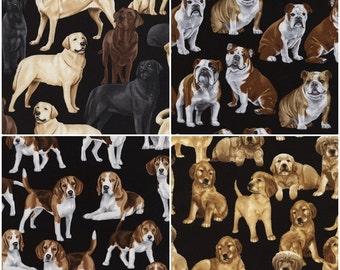 Labrador, Bulldog, Beagle, & Golden Retriever Dog Cotton Fabric by Timeless Treasures! [Choose Your Cut Size]