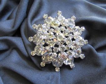 Vintage Rhinestone Brooch with Grey & Crystal Rhinestone Icing on Silver Rhodium Plated Flower - Formal Vintage Costume Jewelry