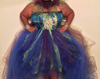 Royal Green Plum Huge Tulle Skirt