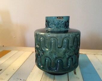 Hirschberg blue glass op art vase