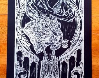 Jackalope- Limited edition Hand printed block print 15''x 22''