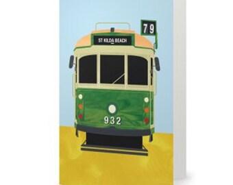50% off EOFY SALE! -Free Post within Australia!- St Kilda Beach - Richmond, Melbourne Tram, Melbourne Icon Large Greeting Card