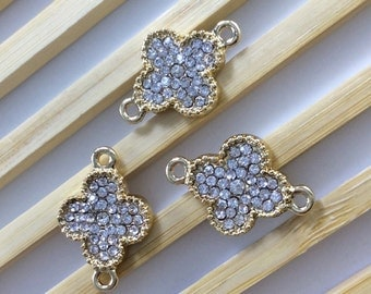 5  pcs Four Leaf  Clover Connector , Four Leaf Clover jewelry  Gold plated