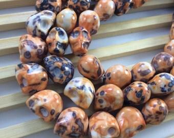 30  pcs  gemstone howlite  skull bead  for  jewelry making  gothic skull sugar skull halloween day of  the dead (c419)