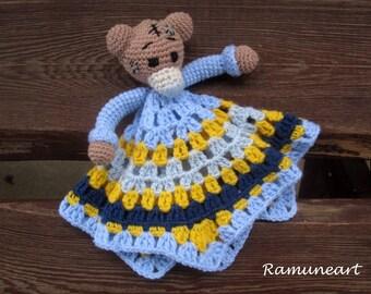 Blue Teddy Bear boyl/Security Blanket/ Soft Toy Doll/ Crochet Toy/ Stuffed Toy Doll/ Amigurumi Doll/ Baby Doll/ Crochet teddy bear