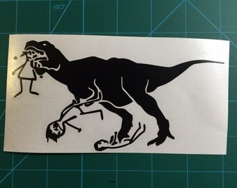 T-Rex Eating Stick Family Decal 4x6