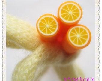 A-05 5PCS Orange Polymer Clay Cane Stick DIY Accessory
