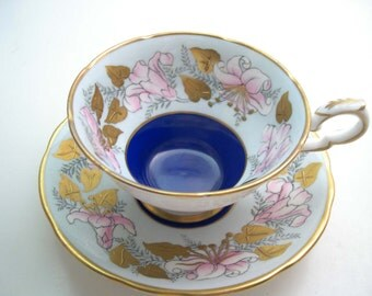 Royal Stafford  Morning Glory Tea Cup and Saucer, Cobalt Blue and Gold  tea cup and saucer set.
