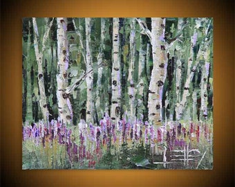 SALE, Birch Tree Painting, Birch Trees, Colorful, Modern Landscape Art, Original Oil, Painting, Summer,  Fall Colors, Free Easel, Sale
