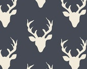Buck Forest Twilight - Hello Bear by Bonnie Christine - Art Gallery. White Deer Antlers on Navy. 100% cotton. HBR-4434