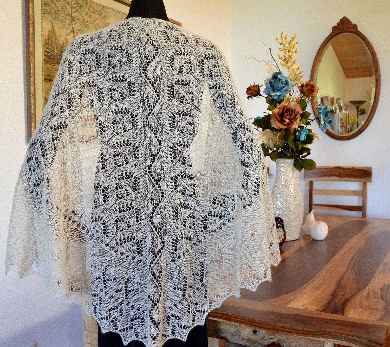 Knitting Patterns For Bridal Shawls : Knit Shawl Pattern Wedding Bliss