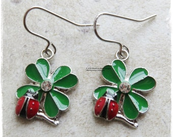 Enamel ladybird earrings, Ladybug earrings, Ladybird earrings, four leaf clover earrings, Shamrock earrings