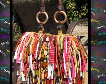 Handmade Fringe Bag,Fall colors,Upcycled Purse,Custom Made,Large Fringe Purse
