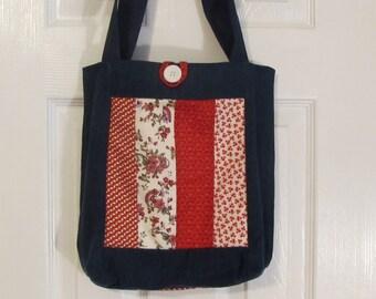 Recycled blue jeans, denim market bag, denim tote bag, shopping bag