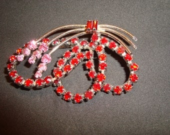 Vintage Red And Pink Rhinestone Brooch Made By Carosel