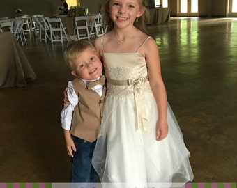 Ring Bearer Taupe Vest Pre-Tied Bow Tie Infant, Toddler, Child, thru 10 Youth