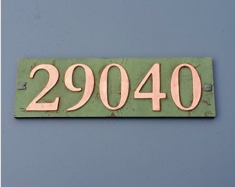 "Copper house address plaque 3""/75mm or 4""/100 mm, with plywood back, 5 x nos. custom made, screw fitting for stucco, brick and timber g"