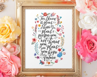 Jeremiah 29:11 Printable Art, Scripture Art, Printable, Graduation Gift, Bible Art Print, Instant Download, Hope and a Future, Encouragement