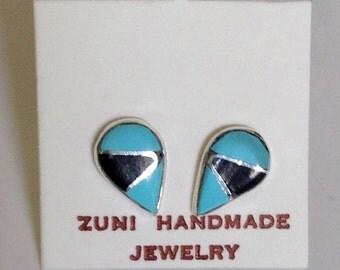 Native American Vintage Zuni Blue Turquoise Jet Sterling Silver Inlay Tear Drop Stud  Earrings