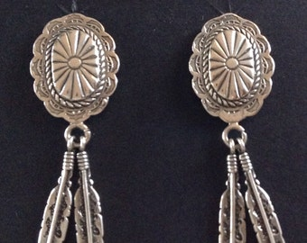 Native American Navajo Sterling Silver Concho Feather Post Earrings