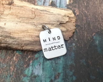 Motivational Jewelry Encouragement Gift Mind over Matter Charm for Necklace or Bracelet Workout Jewelry Great for Weightlifting CrossFitter