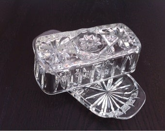 Glass Butter Dish with Lid / Covered Quarter Pound Butter  Dish / Butter Dishes / Clear Pressed Glass / Clear Depression Glass / Press Glass