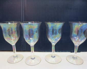 Set of 4 Carnival Cordial Glasses - Great iridescence!