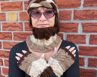Set: Coffee Latte cowl, cream headband, cofee gloves, knit scarf, neck warmer