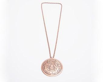 copper medallion necklace vintage 1970s • Revival Vintage Boutique