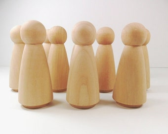 Wooden Jumbo Lady Peg People, natural peg toy,  woman Peg Doll, Jumbo Peg Doll, plain wood peg, wood peg blank