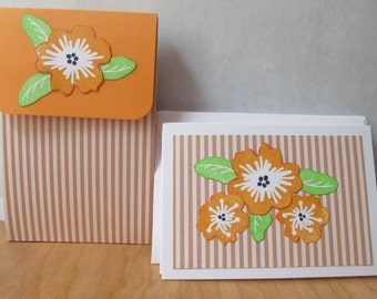 Set of 4 Handstamped Note card Set with matching box
