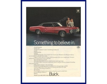 """BUICK LESABRE AUTOMOBILES Original 1970 Vintage Extra Large Color Print Ad - Red 2-Door Car """"Something To Believe In."""""""
