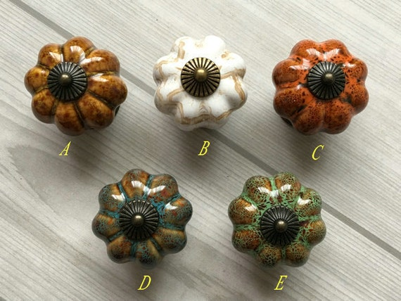 Pumpkin Knob Cabinet Knobs Pumpkins Knobs Beige Tan Blue