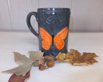 Gray and Orange Ceramic Monarch Butterfly Coffee Mug