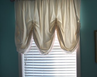 Muslin valance with beaded glass trim
