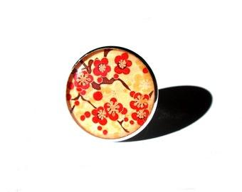Cherry Blossom Ring, Sakura Ring, Sakura jewelry, Japanese Flowers, Adjustable Ring, Flower Ring, Floral Ring, Red Flowers, Statement ring