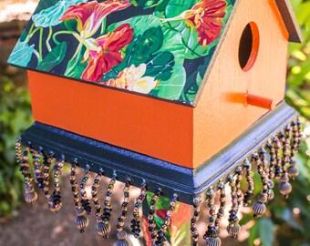Hand Painted Nasturtium Birdhouse, Handpainted Orange Floral Bird House