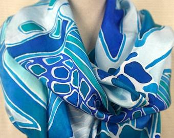 Silk shawl, womens scarf, blue. Handmade for ladies.