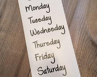 Menu decals, days of the week menu stickers, meal planning, menu organizing vinyl sticker labels, customizable menu organizing, vinyl decal