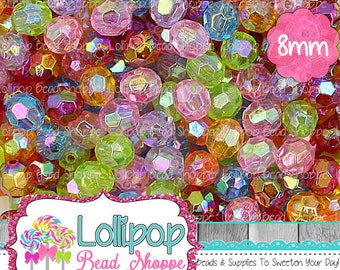 Transparent AB Faceted Beads 8mm Beads Round Beads Clear Acrylic Beads Plastic Sparkle Aurora Borealis Gumball Beads Bubblegum Beads
