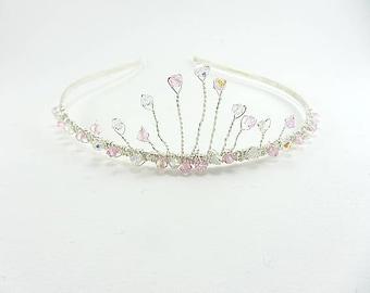 Silver Wire Tiara, Bridal Hair Accessory, Crystal Tiara, Headband