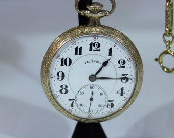 Antique 1922 Illinois 17Jewels Openface 16s Double Roller Pocket Watch